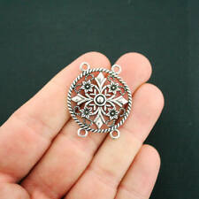 5 Flower Connector Charms Antique Silver Tone - SC6792