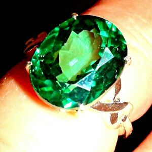 RARE! BIG! 9.45 ct NATURAL UNHEATED GREEN TOPAZ RING 925 STERLING SILVER.S-E 5.5