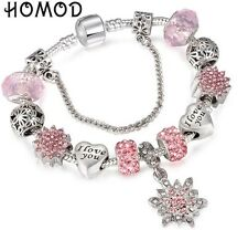 Silver Snowflake Bracelet Charm Sliding Beads I Love You Bells Pink Crystal BN