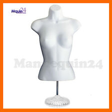 New ListingFemale Torso Mannequin Dress Body Form White w/ Stand + Hooks for Hanging