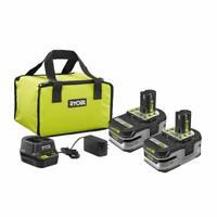 Ryobi P166 18V ONE+ HP 3.0 Ah Battery 2-Pack Starter Kit With Charger & Bag