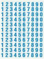 PLANCHE 14X10,5CM DE 110 AUTOCOLLANT STICKER CHIFFRE BLEU CLAIRE DIM. 1X0,6CM
