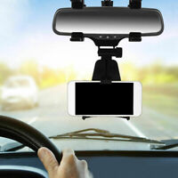 Universal Car Rearview Mirror Mount Stand Holder Cradle Black For Cell Phone GPS