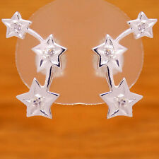 Impressive Solid 925 Sterling Silver Charming Stars White Cz Stud Earrings
