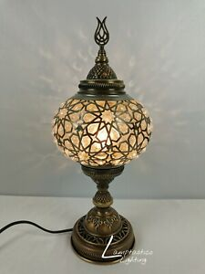 Luxurious Turkish Blown Pressed Glass Table Bedside Lamp Brass Finish 40cm