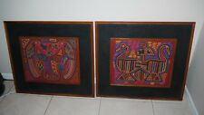 """Two Vintage Mola !950's-1974 Framed MCM Style Parrots Ducks 18.5 x 14.5"""""""