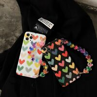 Bling Love Heart Phone Case Cover w/Strap For iPhone 12 11 Pro Max XS XR 7 8