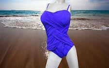 NWT GOTTEX BY GOTTEX Iris Blue SLIMMING 1pc BATHING suit SWIMSUIT sz - 14