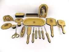 Vintage Celluloid Art Deco Dresser Set 24 Pieces Gold with Flower Accents #2563