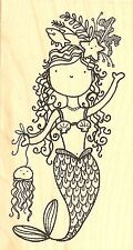 MERMAID Martha Wood Mounted Rubber Stamp IMPRESSION OBSESSION D19179 New