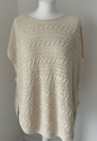 New With Tags Massimo Dutti Italian Yarn Cream Cable Knit Sleeveless Jumper L