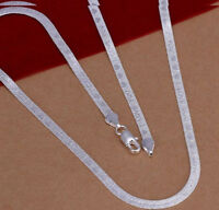 925 Sterling Silver Necklace Womens Mens I LOVE YOU Flat Snake Link Chain D521