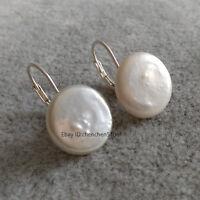 Schöne kultivierte 13-14mm weiß Münze Süßwasser Perle 925 Silber Brisur-Ohrringe