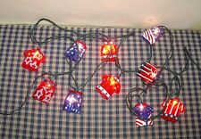 Blow Mold Patriotic String Lights Red White Blue Shirts & Shorts 10 light string