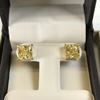6 Ct Studs Diamond Earrings Princess Fancy Canary Yellow Man Made 14k Solid Gold