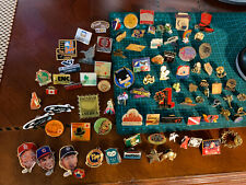 Vintage large lot of pinbacks, sports,religious,special olympics,red cross,more+