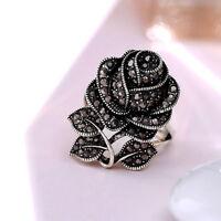 Pretty Women Wedding Engagement Ring 925 Silver Black Sapphire Ring Size 6-10