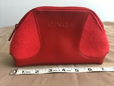 Clinique Makeup Cosmetic Travel Bag Small Red with zipper Clutch
