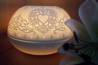 Großes XL BIG Porzellan Windlicht Weiß Lithophanie T-Holder Herz Liebe