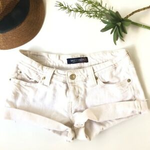 Levi's Womens Jean Cutoff Shorts Size 3 Ivory Oatmeal Genuinely Crafted Festival