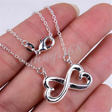 925 Sterling Silver TARNISH-FREE Necklace + Double Heart INFINITY Pendant E348