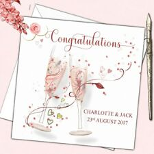 Personalised Wedding Day or Engagement Congratulations Card Swirl Glasses 6""