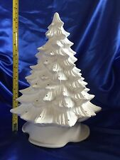 CERAMIC BISQUE CHRISTMAS TREE & BASE - CLEANED,DRILLED,FIRED & UNPAINTED - 11""