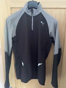 Puma 1/4 Zip Up Top - Golf Jumper - Medium - Black Grey - Mens