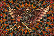 "Guitar Skeleton Hippie Tapestry ""Winged Skeleton"" by Artist Dan Morris 28""x42"""