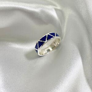 Sterling Silver Lapis Lazuli Gemstone Southwestern Wedding Band Ring