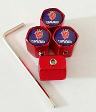 Saab Blue top Red Wheel Valve Dust caps ANTI THEFT all Models