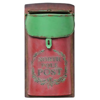 NORTH POLE POST Box RED GREEN Rust Vintage Style Mailbox Christmas Metal Rustic