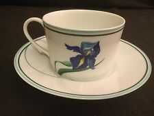 RARE CERALENE A RAYNAUD LIMOGES IRIS CUP AND SAUCER SET BLUE GREEN WHITE