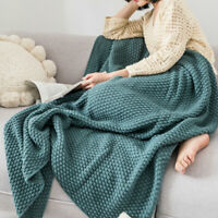 Soft Knitted Blanket Tassel Fringe Bed Sofa Couch Throw Pom Pom Warm Winter Home