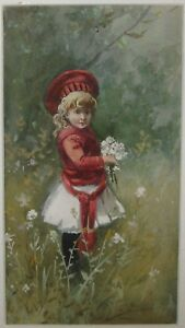 Antique Original YOUNG GIRL w FLOWERS Victorian TRADE CARD PAINTING - Listed?