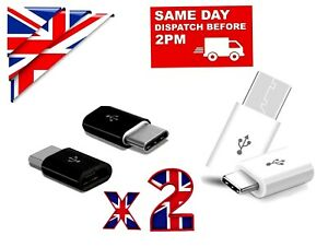 2 x MICRO USB TO TYPE C ADAPTER CHARGER for SAMSUNG XIAOMI HUAWEI LG NOKIA etc.