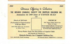 1949 ONTARIO,CANADA SOCIETY FOR CRIPPLED CHILDREN,EASTER SEALS ORDER CARD