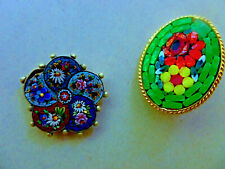 Mini Mosaic Glass Charm Vintage Millefiori Glass Mosaic Pin and
