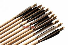 12PK Traditional Archery HandMade Cedar Wooden Arrows Field Tips 28-33'' New