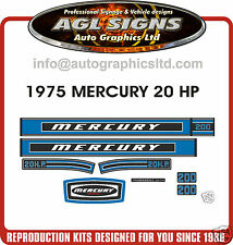 1975 MERCURY 20 hp Outboard Decals  reproductions stickers