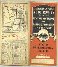 1935 Auto Routes Vintage Road Map via Chester-Bridgeport Ferry /Nice Cover !!