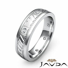 White Gold Mens Solid Ring 0.15Ct Bezel Round Diamond Eternity Wedding Band 18k