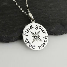 Find Your True North Compass Pendant Necklace - 925 Sterling Silver - Graduation