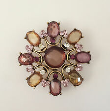 Crystals Good Fortune Brooch Pin B1345A New Lavender Orange Flower Crystal Round