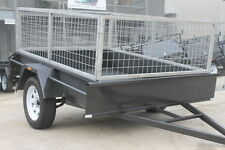 7x5 SINGLE AXLE CAGE TRAILER - SMOOTH FLOOR - FIXED FRONT - 2 FT CAGE - SPARE