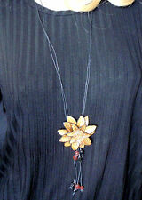 long ladies pendant necklace brown flower tassel leather boho beach