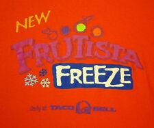 TACO BELL logo lrg T shirt FRUTISTA FREEZE fruity drink orange tee 2009 smoothie