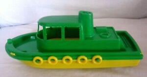 Vintage Tug Boat Green Yellow 11 1/2 Inches Plastic Gay Toys Item 690 Made USA