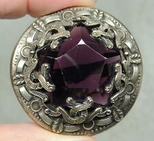 STUNNING BRASS BUTTON w/ LARGE FACETED AMETHYST JEWEL ~ GAY 90's  METAL