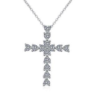 Solid 925 Sterling Silver Heart Cut Zircon Cross Pendant Necklace XMAS Jewellery
